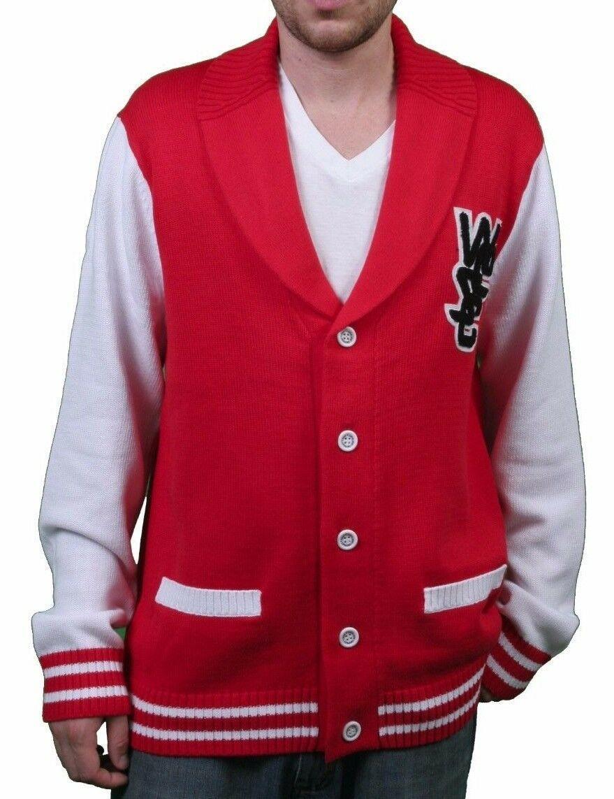 WeSC Hombre Massimo Punto Verdadero Rojo Cárdigan Suéter de Algodón Nwt