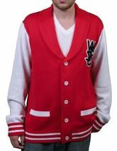 WeSC Hombre Massimo Punto Verdadero Rojo Cárdigan Suéter de Algodón Nwt image 1