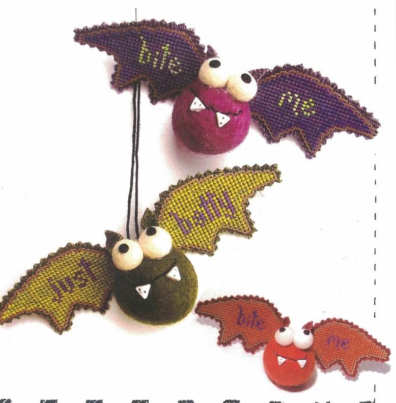 Orange Bat Kit Crazy halloween ornament cross stitch kit  Val's Stuff