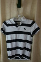 Abercrombie Boys Black and White Stiped Short Sleeve Collard Shirt Sz XL - $12.19