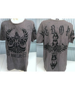 Roar Reborn Graphic XL Mens T-Shirt Brown Wings Charcoal Black Studded - $16.56