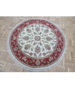 4 X 4 Round Hand Knotted Ivory Red Jaipur Agra Design Oriental Rug G7045 - $197.12