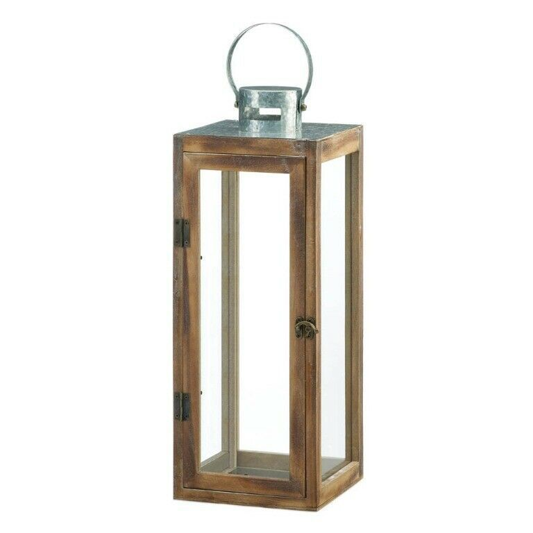 Lot of 4 Large Square Wooden Candle Lantern w/ Galvanized Metal Top, Glass Panes