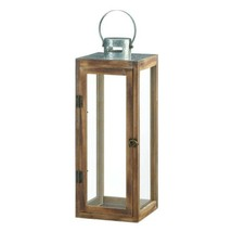Lot of 4 Large Square Wooden Candle Lantern w/ Galvanized Metal Top, Gla... - $120.73