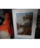 Oil On Canvas River Lined  Tree  House And People Scene By E Conroy 1923 - $58.90