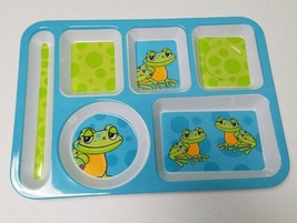 Kids Melamine Divided Lunch/Dinner Tray Green & Blue with Frogs A - $21.49