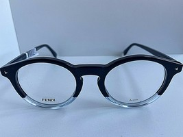 New FENDI FF Round Blue Rx 48mm Unisex Eyeglasses Frames Italy  - $189.99