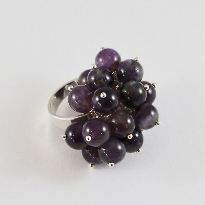 925 Silver Ring Cluster with Amethyst round 8 mm Size Adjustable
