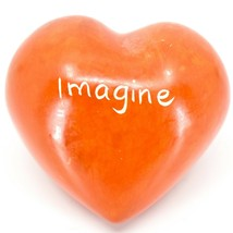 """Vaneal Group Hand Carved Soapstone 2-Sided """"Imagine"""" Orange Heart Paperweight"""