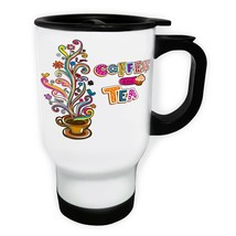 Coffee And Tea Lovers White/Steel Travel 14oz Mug z557t - $17.93