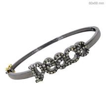 Pave Diamond 925 Sterling Silver PEACE Bangle Bracelet 14k Gold Handmade... - $359.98