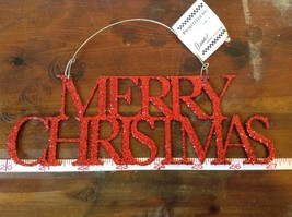 Red Merry Christmas Glitter Ornament Wire Hanger or wall decoration image 2