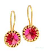 Gold Filled 14k Earrings Cubic Zirconia Crystal Pink Designer Warrenty D... - $32.71