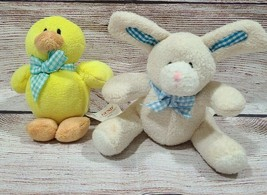 """Gund Baby Genius Plush My First Easter Bunny Duck Stuffed Animals Rattle Bows 6"""" - $14.54"""
