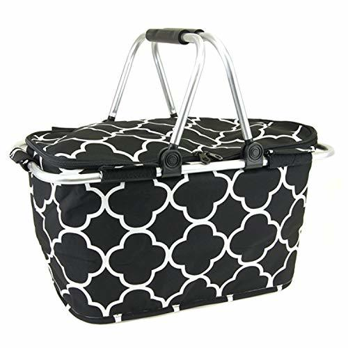 scarlettsbags Quatrefoil Print Metal Frame Insulated Market Tote Black