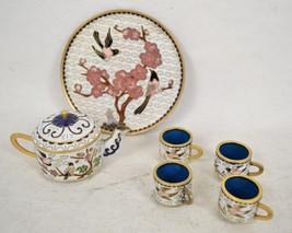 Tea Set Chinese Miniature Cloisonne 4 Cups Tray Teapot Flowers Birds - $79.20