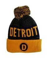 Detroit D Patch Ribbed Cuff Knit Winter Hat Pom Beanie (Orange/Navy Patch) - $11.95