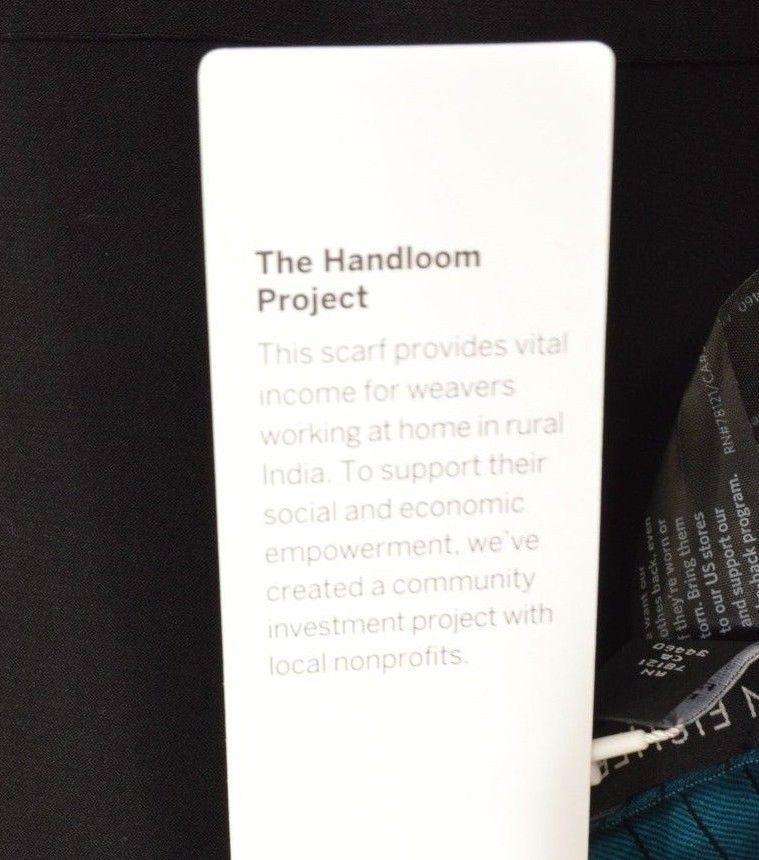 1 Eileen Fisher scarf NWT handloomed organic cotton silk Jewel teal black stripe