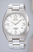 Seiko mens watches kinetic white dial lumibright hands and markers SNG053P1 - $207.90