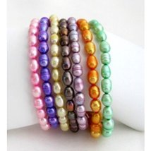 Multi-colored Freshwater Pearl Stretchable Bracelets Rice Shape Pearl Br... - $26.00
