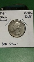 1934 Washington Silver Quarter!!! Better Early Date!!! 90% Silver!!! - $6.05