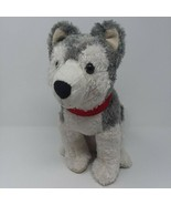 "Siberian Husky Plush Stuffed Puppy Dog Pier 1 Imports 12"" Red Collar Gra... - $11.26"