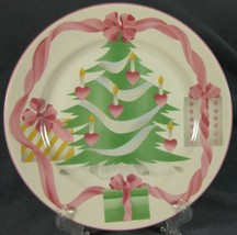 Sango Home For Christmas Dinner Plates Green Tree Pink Ribbons Trim (Indonesia) - $24.95