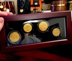 4 PIECE BOX SET GLASS DIPLAY CASE PERU & MEXICO GOLD 8 ESCUDOS COB TREAS... - $1,150.00
