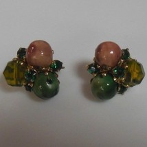 Vintage Signed Vogue Glass Bead & Green Rhinestone Clip-on Earrings - $23.27