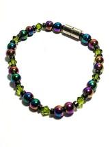 Beaded Bracelet Magnetic Hematite Clasp Single Strand   7 Inch   (MAG-016)