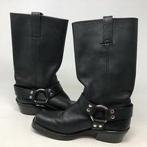VTG Frye Harness Black Leather Riding Boots Sz 7 Slip On Square Toe Pull On  - $3.167,29 MXN