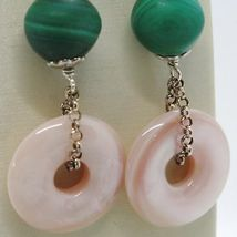 Silver Earrings 925 Tried and Tested Hanging with Pearl Fishing Malachite Nacre image 3