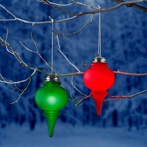 Set of 2 Lighted Hanging Christmas Finial Ornaments Outdoor Yard Decoration - $43.51