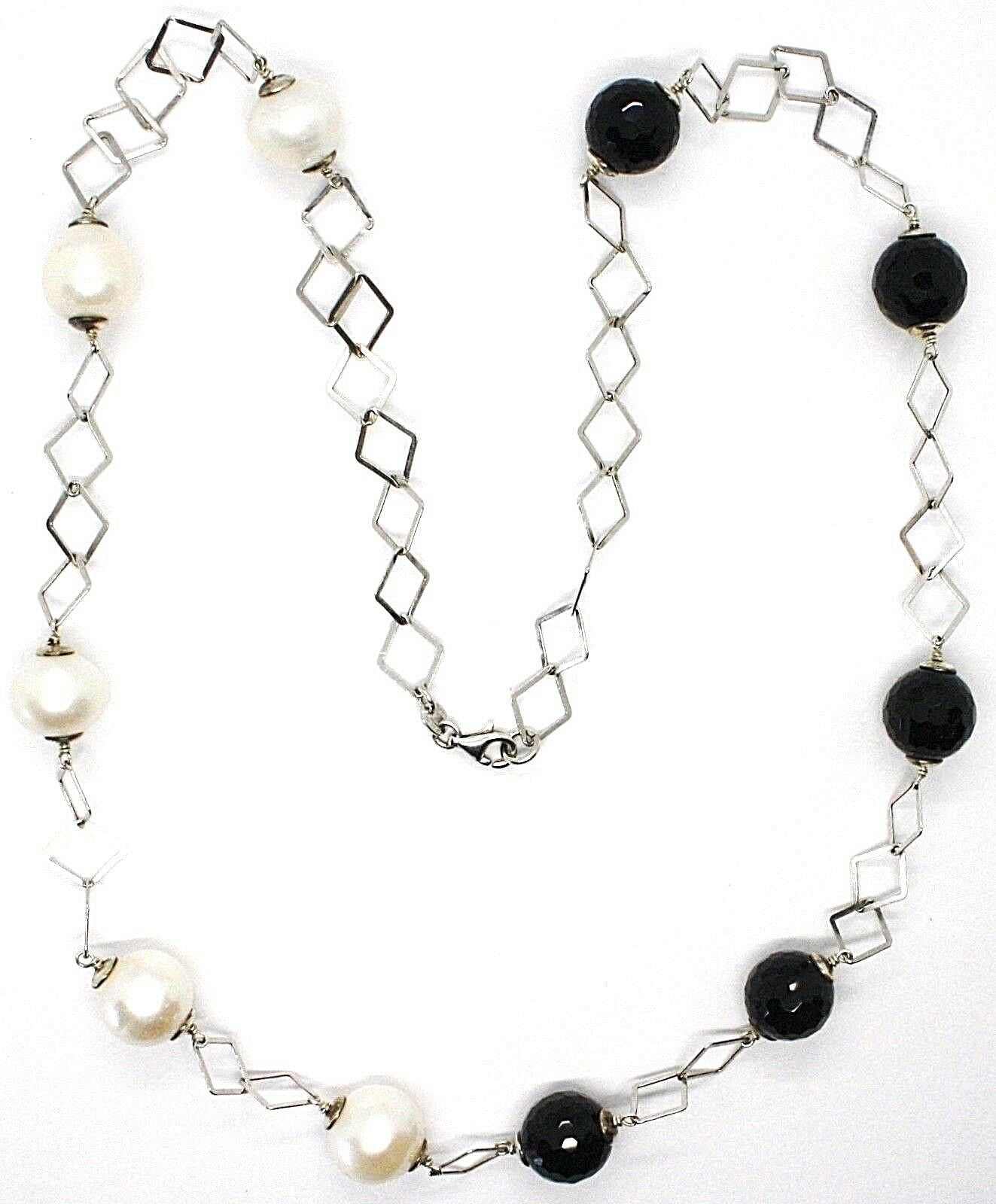 Necklace Silver 925, Onyx Black Faceted, Pearls, 62 cm, Chain Rhombuses image 2