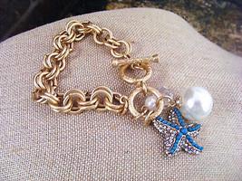 Summer Sale! Gold Link Chain Matte Finish Starfish Rhinestones Pearl Bracelet - $10.88