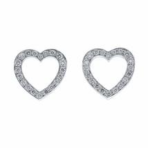 Tiffany & Co Platinum Diamond Open Heart Stud Earrings 0.08cts - $1,499.00