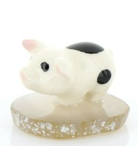 Stepping Stones Fairy Garden Miniature Piglet on Sliced Quartz Base #2709