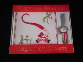 Fitz and Floyd Mingle, Jingle, Be Merry Snack Plate with Spreader in Box - $9.89