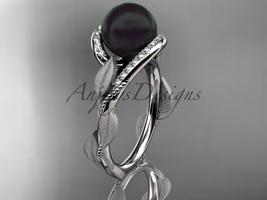 Black pearl engagement rings platinum diamond leaf wedding ring ABP64 - $1,775.00