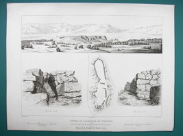 ARCHITECTURE PRINT 1850 - Greece Remains of Acropolis at Tiryns - $16.20