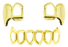 14K Gold GP Mouth Teeth Grillz Double Cap Open Face Upper & Lower Fangs ... - $18.69