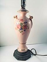 """Pink Floral Table Lamp Porcelain Brass Base Lamp 22"""" Vtg - $20.00"""