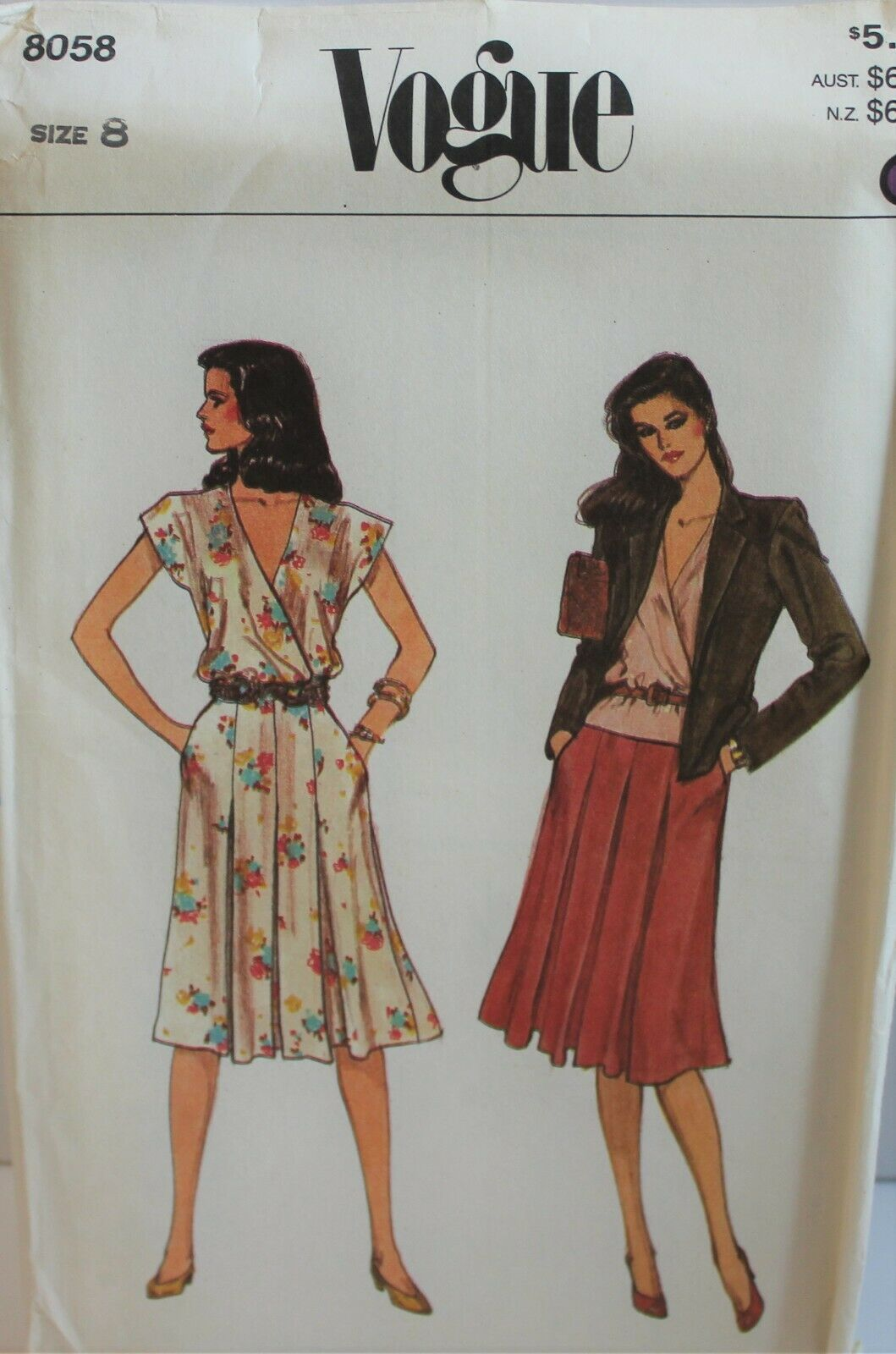 Primary image for Vogue Sewing Pattern 8058 Misses Jacket Blouse Skirt Size 8