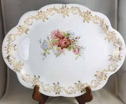 Vintage Platter Homer Laughlin The Angelus Floral Roses Gold Filigree 14... - $15.67