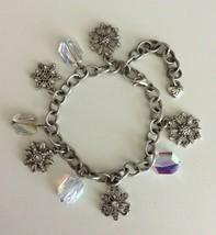 Brighton Snow Diva Silver Tone Faceted Crystal Snowflake Charm Bracelet - $39.59