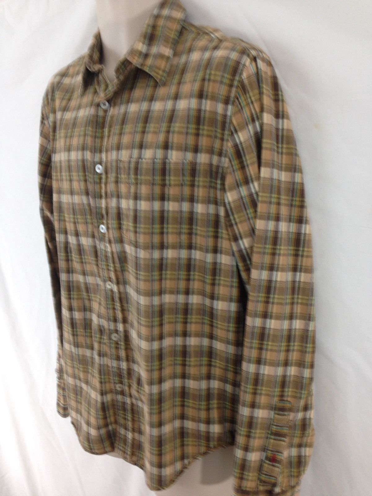 Primary image for Levis Red Tab Mens M Brown Plaid Hiking Camp Work Sport Button Frt Cotton Shirt