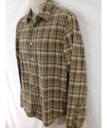 Levis Red Tab Mens M Brown Plaid Hiking Camp Work Sport Button Frt Cotto... - $9.90
