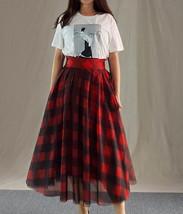 Orange Plaid Skirt High Waisted Long Plaid Skirt Plus Size image 6