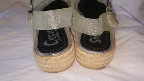 918014075 Circus by Sam Edelman Clear Silver Sparkle Rubber Espadrille Sandals size 8M