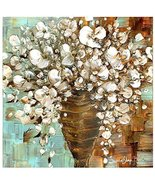 White Flowers in Vase Bouquet Wall Art Print stretched Canvas Abstract M... - $245.00